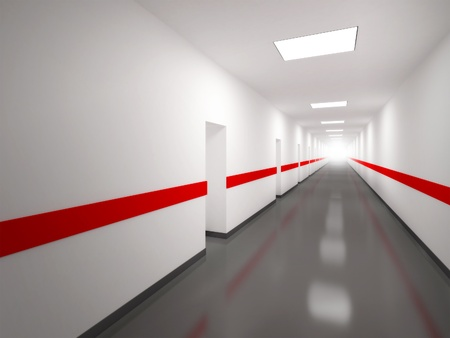 hospital corridor: An abstract white corridor with doors and red lines