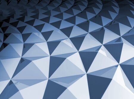 3d abstract geometric background  Blue shining bright square pyramidal cellular curved surface photo