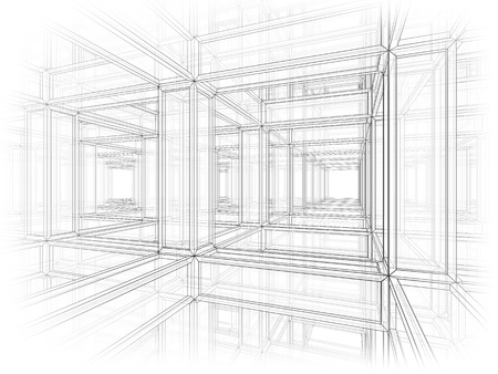 projecting: Abstract architecture background  Internal space of a modern braced construction