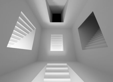 Gray abstract architecture interior with lighting stairway portals photo