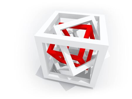 engeneering: Geometric object  one red wire-frame cube inside of two white