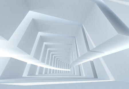 tunnel portals: 3d Abstract architecture background with white bent futuristic interior Stock Photo