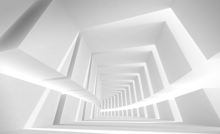 Abstract architecture background with white bent futuristic interior Stock Photo - 15232295