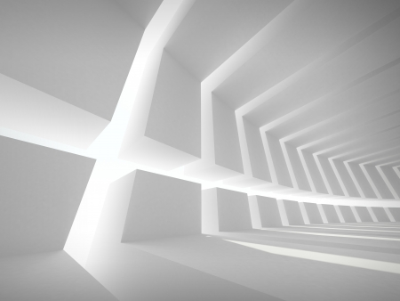 conglomeration: 3d illustration  Abstract architecture background with white bent futuristic interior