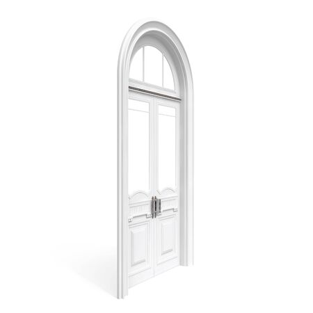 Classical architecture style interior object  white wooden door, half-turn isolated on white Stock Photo - 15232764