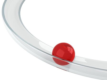rolling: Abstract illustration with red ball rolling down on the helix tray made of transparent glass isolated on white background