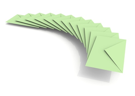 Batch of light green envelopes on white background with soft shadow photo