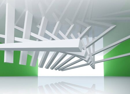barrage: 3d abstract architecture background  Room Interior with tilted beams ceiling installation and glowing end