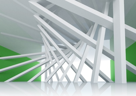 barrage: 3d abstract architecture background  Room Interior with tilted columns and glowing end