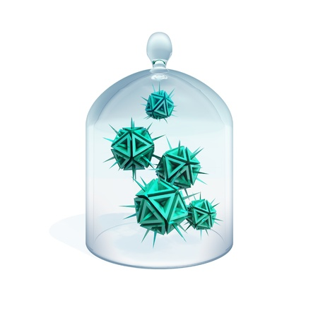 detrimental: Abstract illustration of a viruses in quarantine as a green danger sharp objects with spikes under cover made of glass