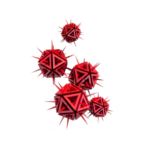detriment: Abstract illustration of a virus as a few red sharp objects with spikes isolated on white background Stock Photo