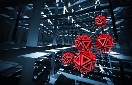 virus informatico: Computer ilustraci�n virus rojas con objetos cortantes en el fondo azul oscuro t�nel 3d render digitales Foto de archivo