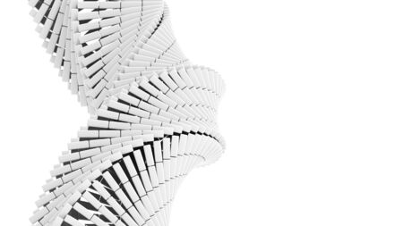 chamfer: 3d abstract background illustration with helix made of white chamfer boxes
