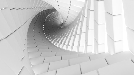 uniform curls: 3d abstract background interior with helix made of white chamfer boxes