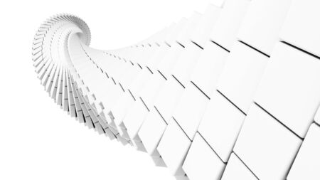 uniform curls: 3d abstract background illustration with helix made of white chamfer boxes