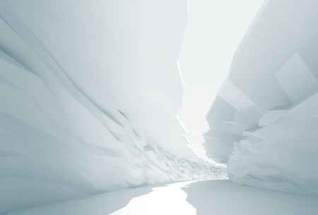 trigonal: Cool abstract background  Bent white corridor with rugged walls