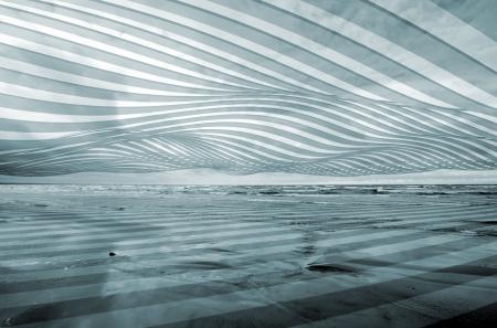흑백 추상 3D 웨이브 줄무늬 바다 배경 스톡 콘텐츠