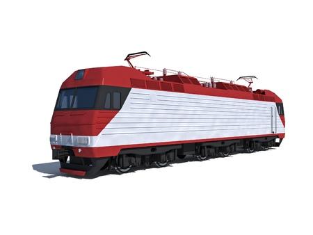 locomotora: Ilustraci�n aislada en blanco Vista en perspectiva de la locomotora el�ctrica moderna Foto de archivo
