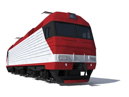 power projection: 3d render illustration isolated on white  Perspective view of the modern electric locomotive