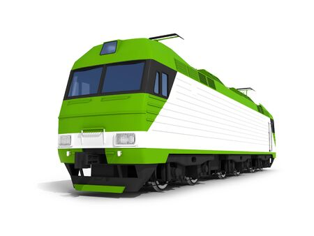 power projection: 3d render illustration isolated on white  Perspective view of the modern green electric locomotive Stock Photo