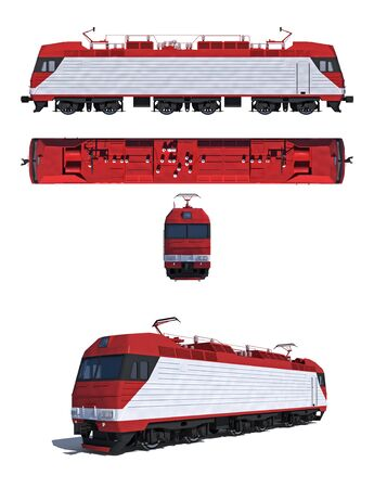 3d render illustration isolated on white  Projections and perspective view of the modern electric locomotive illustration