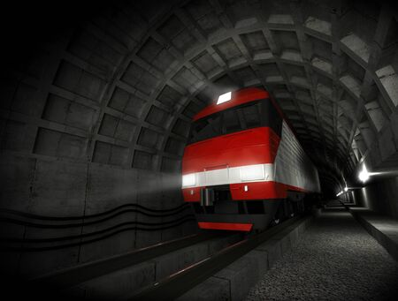 Modern fast red white electric locomotive in the dark tunnel with lights Stock Photo - 15232433