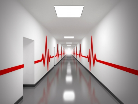 lifesaving: An abstract white hospital corridor with doors and red pulse lines on walls