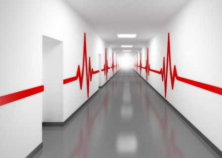 hospital corridor: An abstract white hospital corridor with doors and red pulse lines on walls