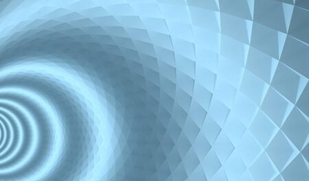 angular: 3d abstract architecture background  Blue tunnel with pyramidal surface and light rings