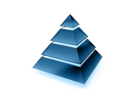 layers levels: Illuminated layered pyramid made of dark blue glass isolated on white Stock Photo