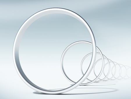 follow through: 3d render illustration  flight through curved tunnel of rings