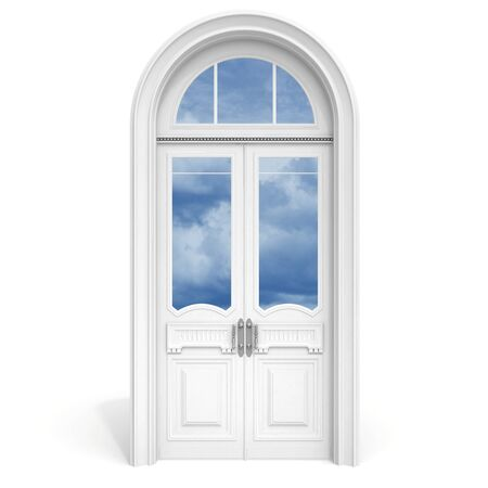 Classical architecture style inter object  white wooden door with reflected glass sections,  isolated on white Stock Photo - 15232749