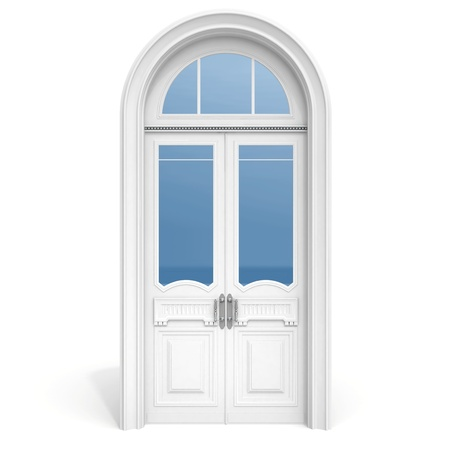 Classical architecture style inter object  white wooden door with reflected glass sections,  isolated on white Stock Photo - 15232740