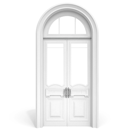 Classical architecture style interior object  white wooden door with empty glass sections,  isolated on white with soft shadow photo