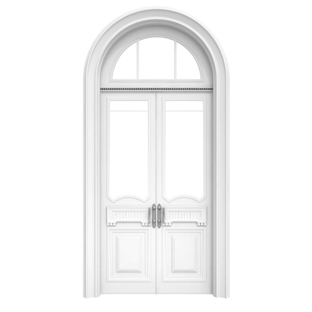 Classical architecture style interior object  white wooden door isolated on white Stock Photo