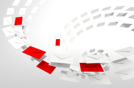 Illustration of e-mail concept with white and red envelopes stream illustration