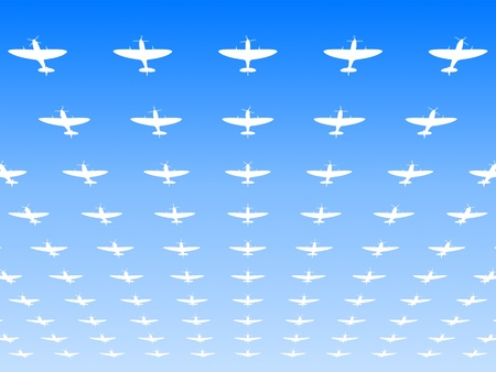 wwii: A massed formation of Spitfire Supermarine WWII fighters flying overhead  3d illustration