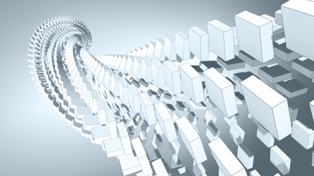 spatial: 3d abstract background illustration with spatial helix made of boxes
