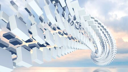 3d abstract background illustration with spatial helix made of boxes above coastal cloudy background illustration