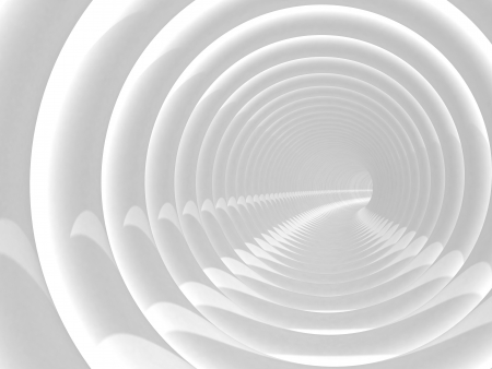 Abstract illustration with white bent spiral tunnel illustration