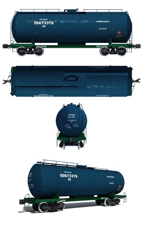 waggon: 3d render illustration isolated on white  Projections and perspective view of the modern blue tank car with text labels  Russian