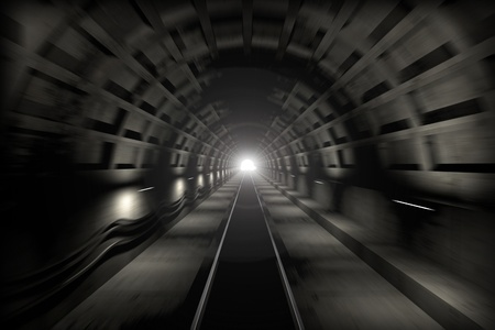 3d render  Fast train travel in the subway tunnel  View from the driver cabin with motion blur and lens flare from the end of tunnel