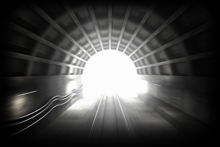 3d render illustration with glowing end of subway tunnel  View from driver cabin with motion blur Stock Illustration - 15232389