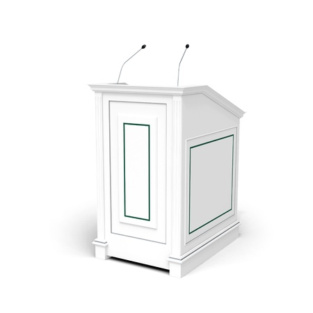 dais: Classical architecture style interior object  White wooden podium, half-turn isolated on white with soft shadow