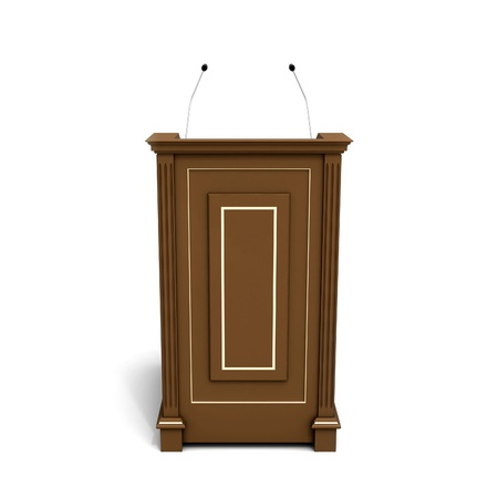 dais: Wooden podium isolated on white with soft shadow Stock Photo