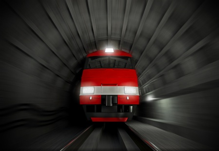 light tunnel: Modern fast red white electric locomotive in the dark tunnel