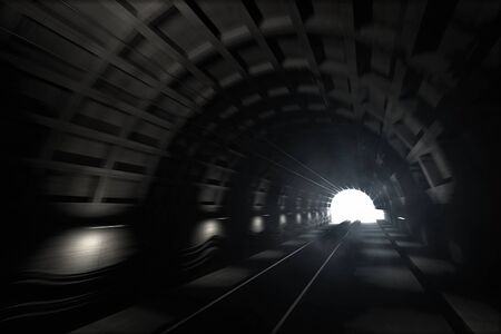 3d render  illustration with glowing end of subway tunnel with motion blur Stock Illustration - 15233161