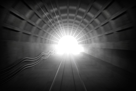through travel: 3d render  illustration with glowing end of subway tunnel  View from train driver cabin with motion blur