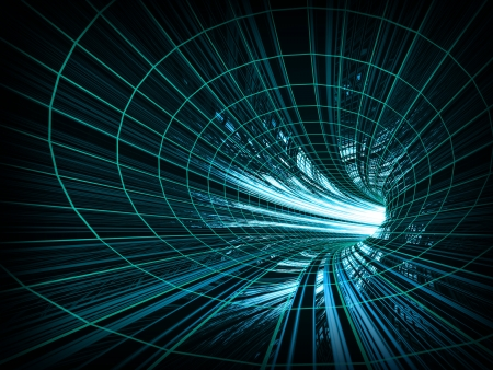 Abstract background  fast motion in turning blue tunnel with the light at the end Stock Photo