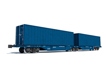 3d render illustration isolated on white  Perspective view of the modern blue container twin carriage illustration